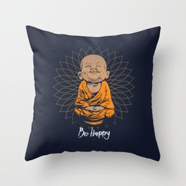 Be Happy Little Buddha Throw Pillow