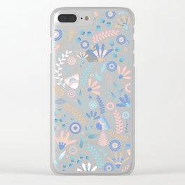 Folk floral pattern / pastel on black Clear iPhone Case