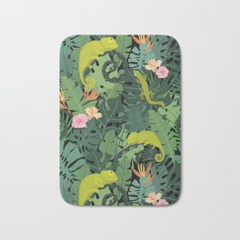Chameleons And Salamanders In The Jungle Pattern Bath Mat