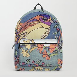 Small Bird With Wildflowers And Holly Wreath Backpack