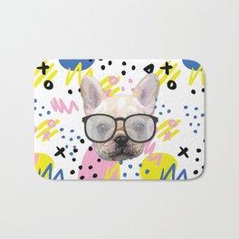 Dog with glasses Bath Mat