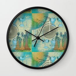 Vintage Bicycle and Corsets Wall Clock