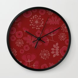 Marsala flowers pattern Wall Clock
