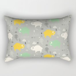 Seamless pattern with cute baby buffaloes and native American symbols, gray Rectangular Pillow