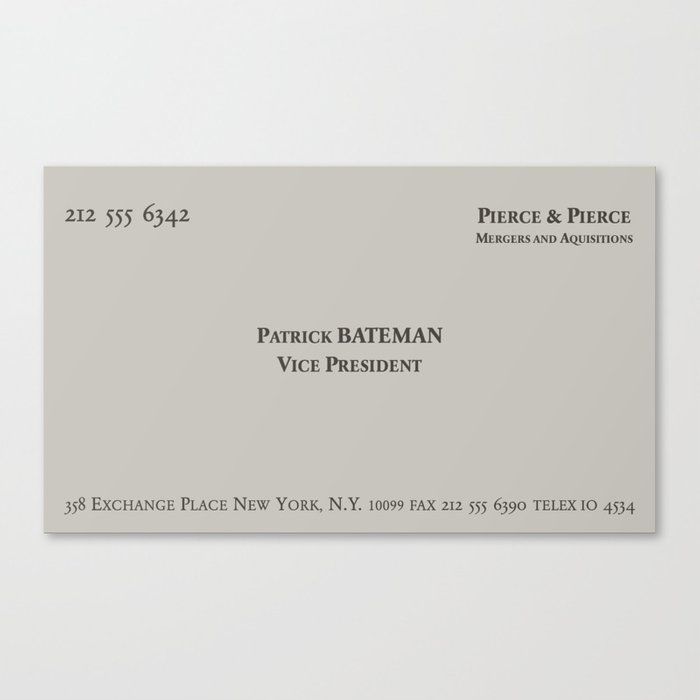 American psycho patrick bateman business card canvas print by american psycho patrick bateman business card canvas print colourmoves