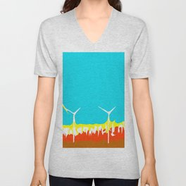 wind turbine in the desert with blue sky Unisex V-Neck