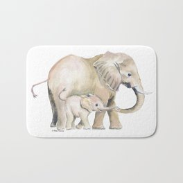 Mom and Baby Elephant 2 Bath Mat