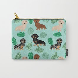 dachshund summer tropical monstera palms dog breed pure breed pets Carry-All Pouch