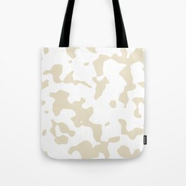 Large Spots - White and Pearl Brown Tote Bag