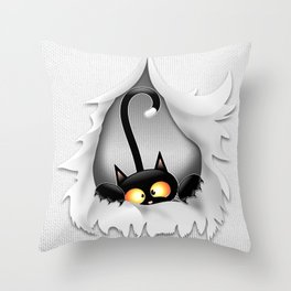 Fun Cat Cartoon in ripped fabric Hole Throw Pillow