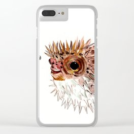 Little cute Fish, Puffer fish, cut fish art, coral aquarium fish Clear iPhone Case