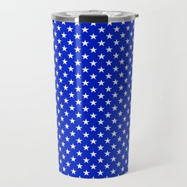 White Stars on Cobalt Blue Travel Mug