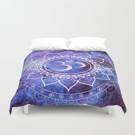 Om Mandala Purple Lavender Blue Galaxy Duvet Cover