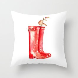 Red Christmas Boot Throw Pillow