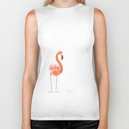 """Just Peachy"" - 5"" x 7"" acrylic painting of a Flamingo by Teresa Thompson Biker Tank"