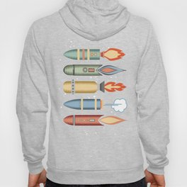 Outer space rockets flaming jet packs clouds Hoody