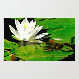 Frog with lily flower reflection Rug