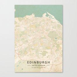Edinburgh, United Kingdom - Vintage Map Canvas Print