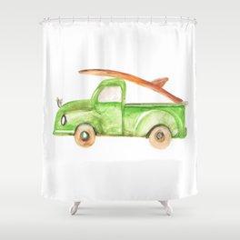Green Truck Shower Curtain