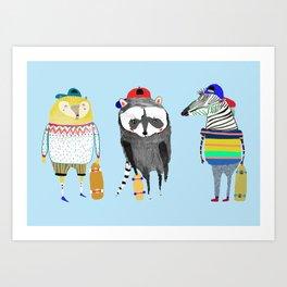 The skateboarders. skateboard print - skating - animal art. Art Print