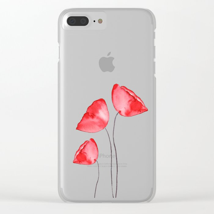 3 red poppies watercolor Clear iPhone Case