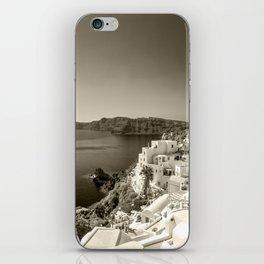 Santorini Seascape in sepia iPhone Skin