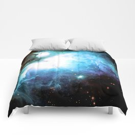 Orion Nebula Aqua Periwinkle Gold Comforters