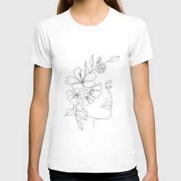 Minimal Line Art Woman Face II T-shirt
