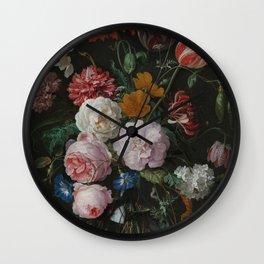 Still life with flowers in a glass vase, Jan Davidsz. de Heem, 1650 - 1683 Wall Clock