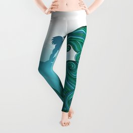 Surfer dude hangin ten and catching a wave Leggings
