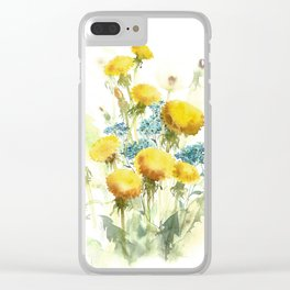 Watercolor flowers of blowball and forget-me-not Clear iPhone Case
