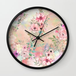 Botanical Fragrances in Blush Cloud Wall Clock