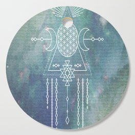 Mandala Flower of Life in Turquoise Stars Cutting Board