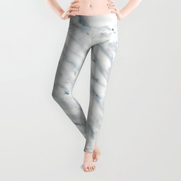 Real Marble Pattern - Swirly White and Gray Marble Leggings