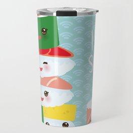 I love sushi. Kawaii funny sushi set with pink cheeks and big eyes, emoji. Blue japanese pattern Travel Mug