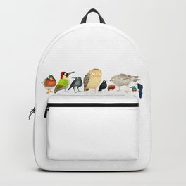 Woodland Bird Collection in white Backpack