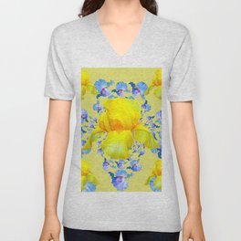 YELLOW & BLUE-WHITE IRIS BLACK ABSTRACT PATTERN Unisex V-Neck