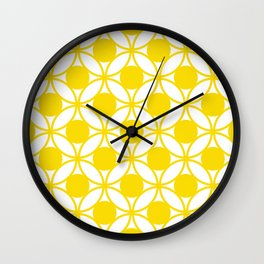 Geometric Floral Circles Summer Sun Shine Bright Yellow Wall Clock