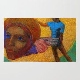 """Odilon Redon """"Figure Holding the Head of an Angel (also known as The Fall of Icarus)"""" Rug"""