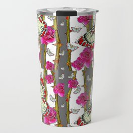 RED-YELLOW  ORIENTAL STYLE BUTTERFLIES & PINK ROSES GREY PATTERN DESIGN FROM SOCIETY6   BY SHARLESAR Travel Mug