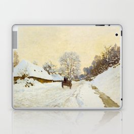 Claude Monet Impressionist Landscape Oil Painting A Cart on the Snowy Road at Honfleur Laptop & iPad Skin