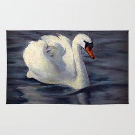 Swan Swimming in Sunshine, Oil Pastel Painting Rug