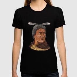 Maori Chief Warrior Bust Watercolor T-shirt