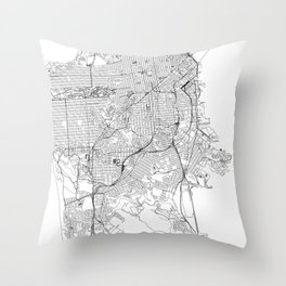 San Francisco White Map Throw Pillow