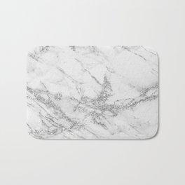 Elegant chic white gray silver glitter marble Bath Mat