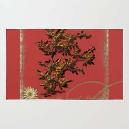 Golden flower on red Rug