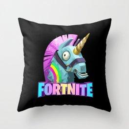 Fortnit Battle Royale Unicorn Throw Pillow
