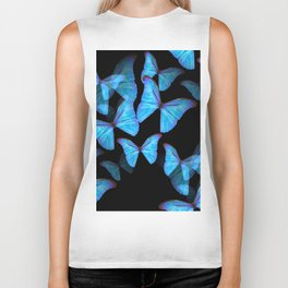 Turquoise Blue Tropical Butterflies Black Background #decor #society6 #buyart Biker Tank