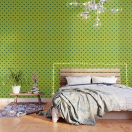 Floral pattern - green and teal Wallpaper