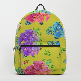 Hydrangeas on Green Gold Backpack